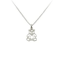 Naszyjnik srebrny dla dziewczynki z ażurowym Misiem