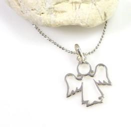 Srebrny naszyjnik z Ażurowym Aniołkiem