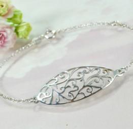 Srebrna bransoletka łańcuszek z ażurową Arabeską