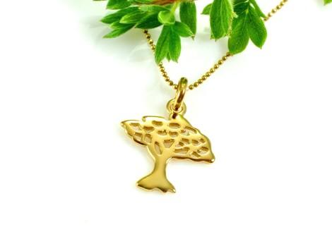 Naszyjnik pozłacany z drzewkiem szczęścia