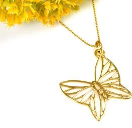 Naszyjnik pozłacany z motylem