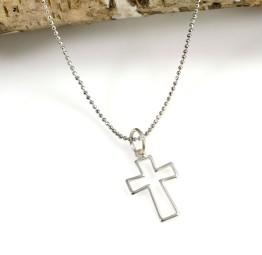 Srebrny naszyjnik z krzyżykiem na chrzest bierzmowanie
