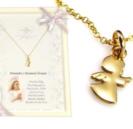 Prezent na Komumię łańcuszek z aniołkiem
