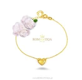 Serce na prezent dla dziewczyny bransoletka srebrna pozłacana